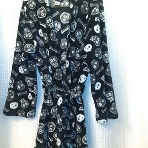 Fleece hoodie skully robe